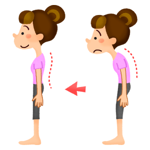 Woman with good and bad posture