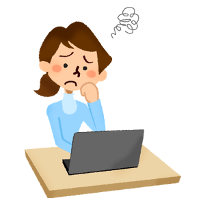 Annoyed woman in front of laptop