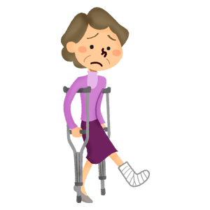 Senior woman with crutches