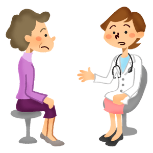 Senior woman receiving a medical consultation with female doctor