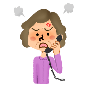 Angry senior woman talking on the phone