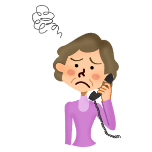 Annoyed senior woman talking on the phone