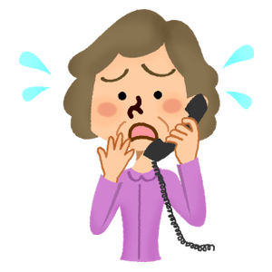 Panicked senior woman talking on the phone