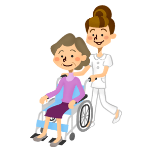 Senior woman in wheelchair and care worker